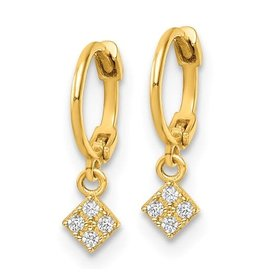 14K Young Lady's Y/G Zirconia Dangle Earrings