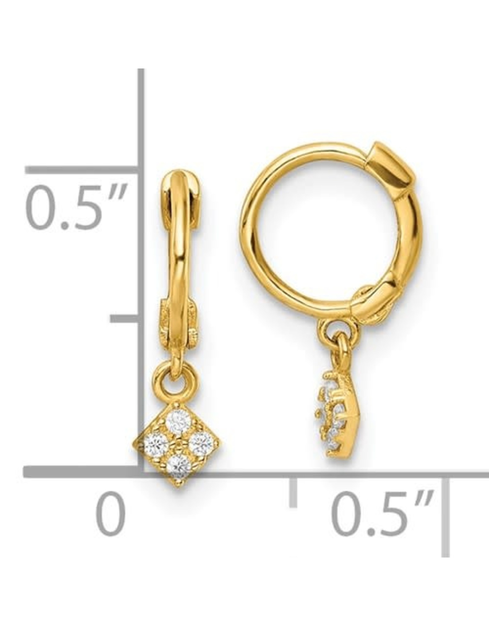 14K Young Lady's Yellow Gold Zirconia Dangle Earrings