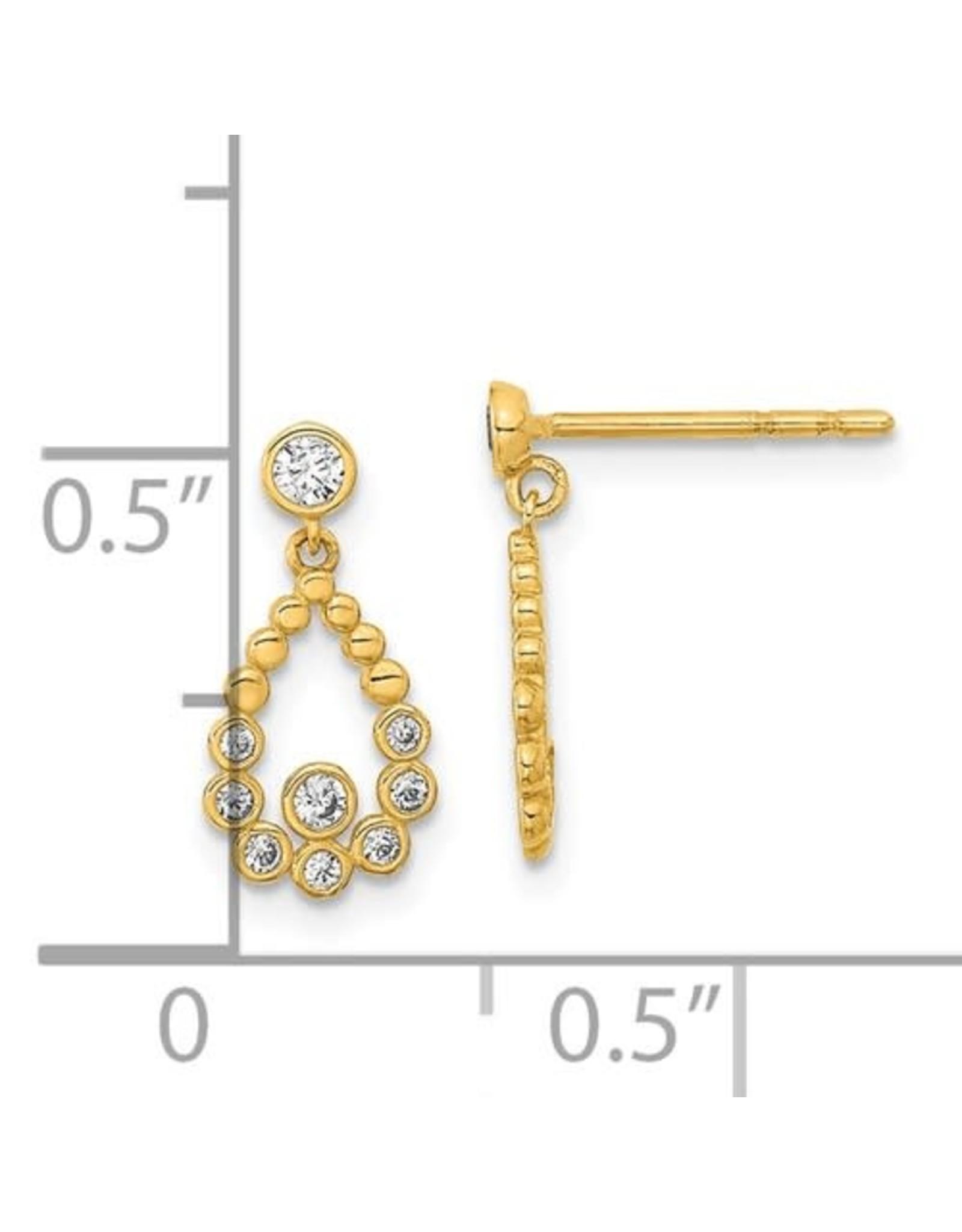 14K Young Lady's Elegant Yellow Gold Zirconia Tear Drop Earrings