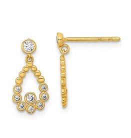 14K Young Lady's Elegant Y/G Zirconia Tear Drop Earrings