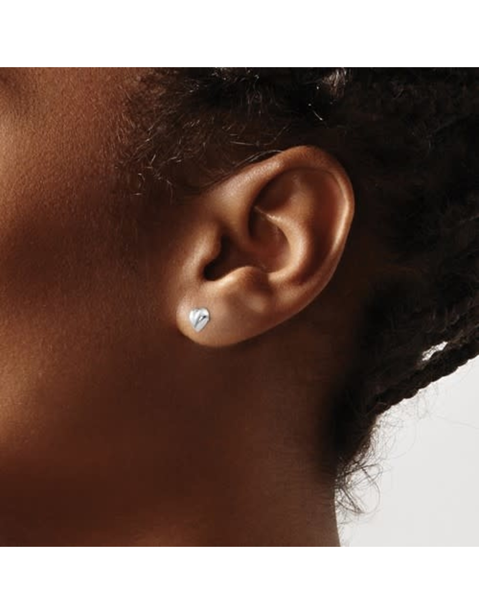 14K Children's W/G Puff Heart Screw Back Earrings