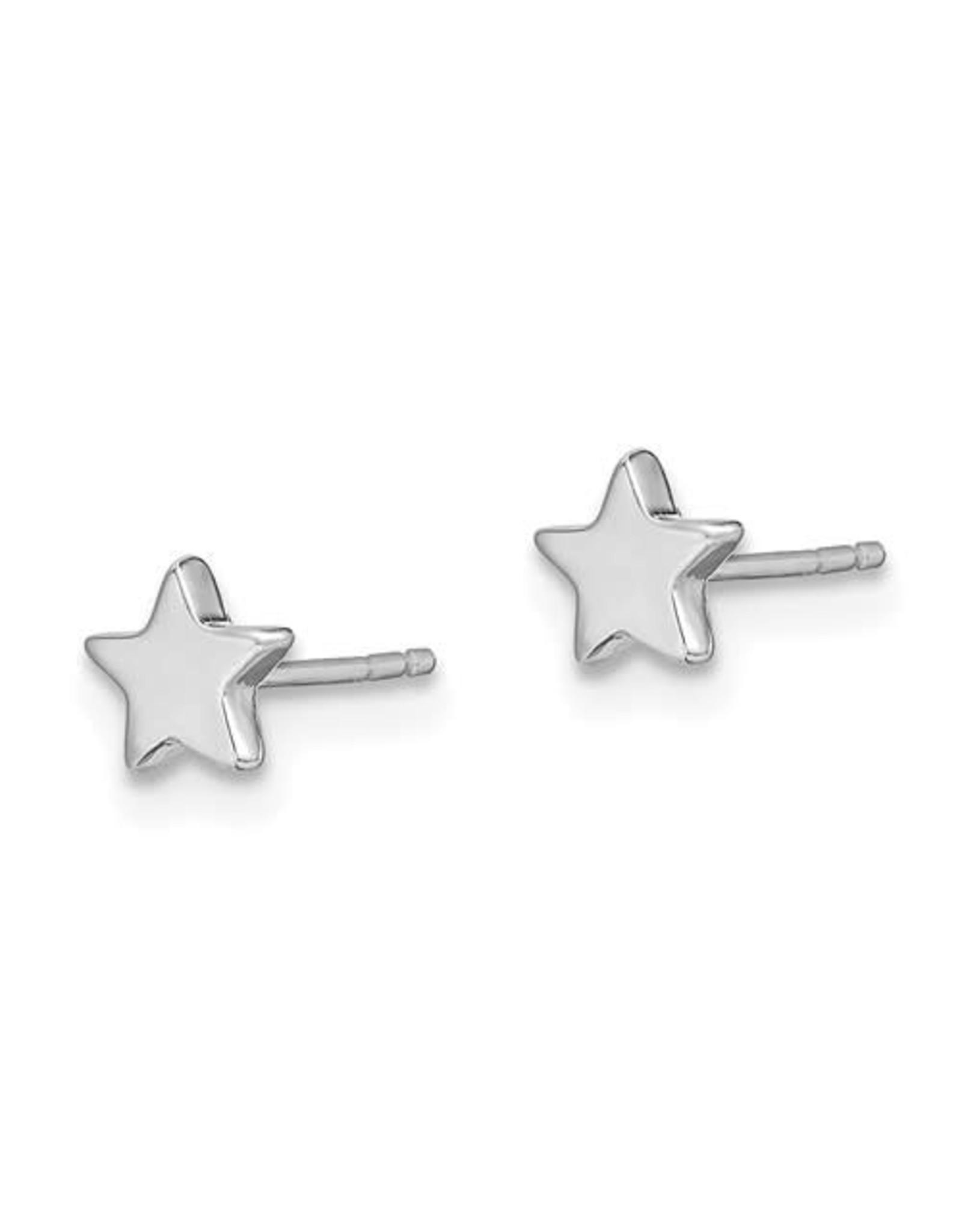14K Children's White Gold Star Stud Earrings