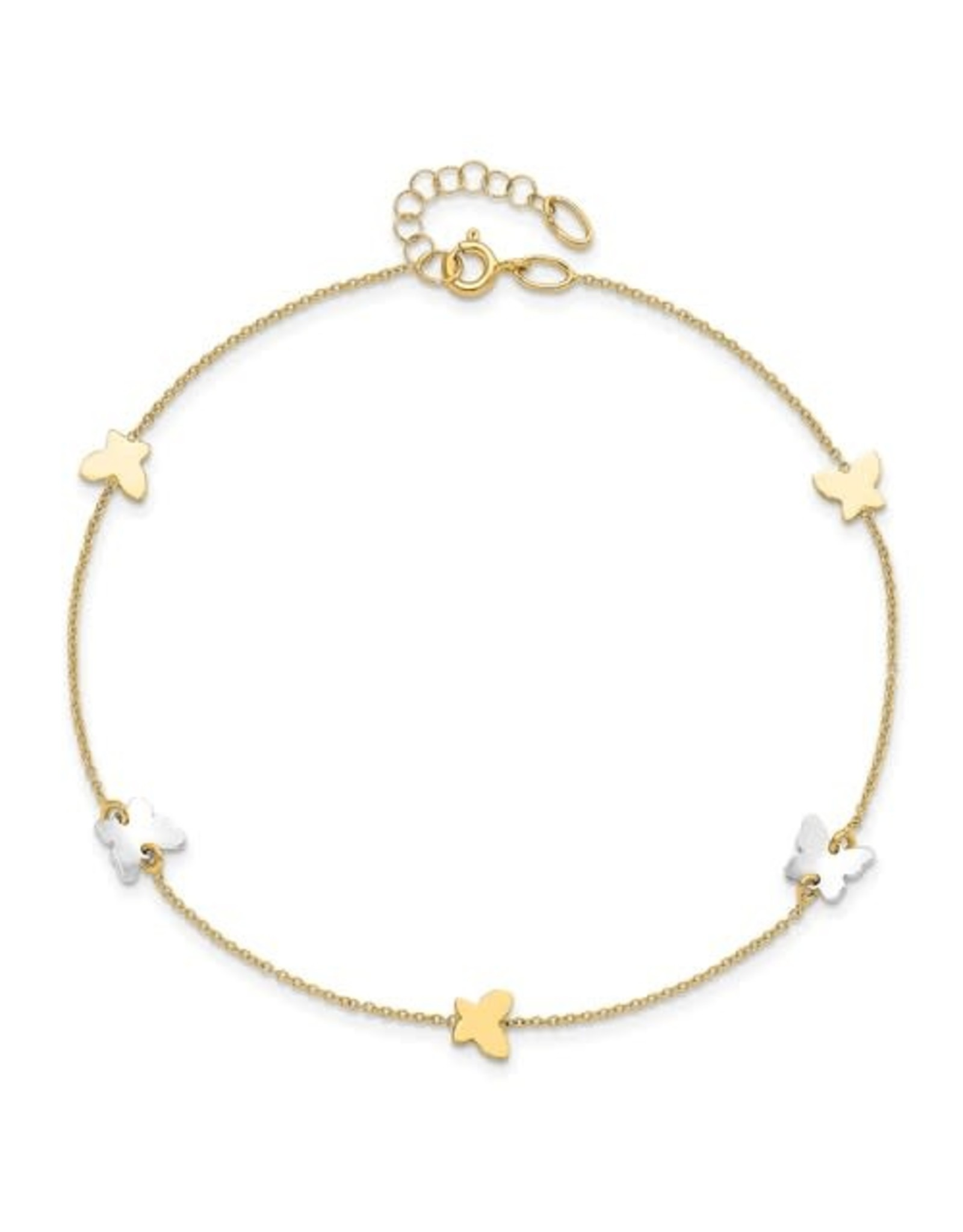 """14K 2-tone Butterfly Anklet, 9"""" + ext"""