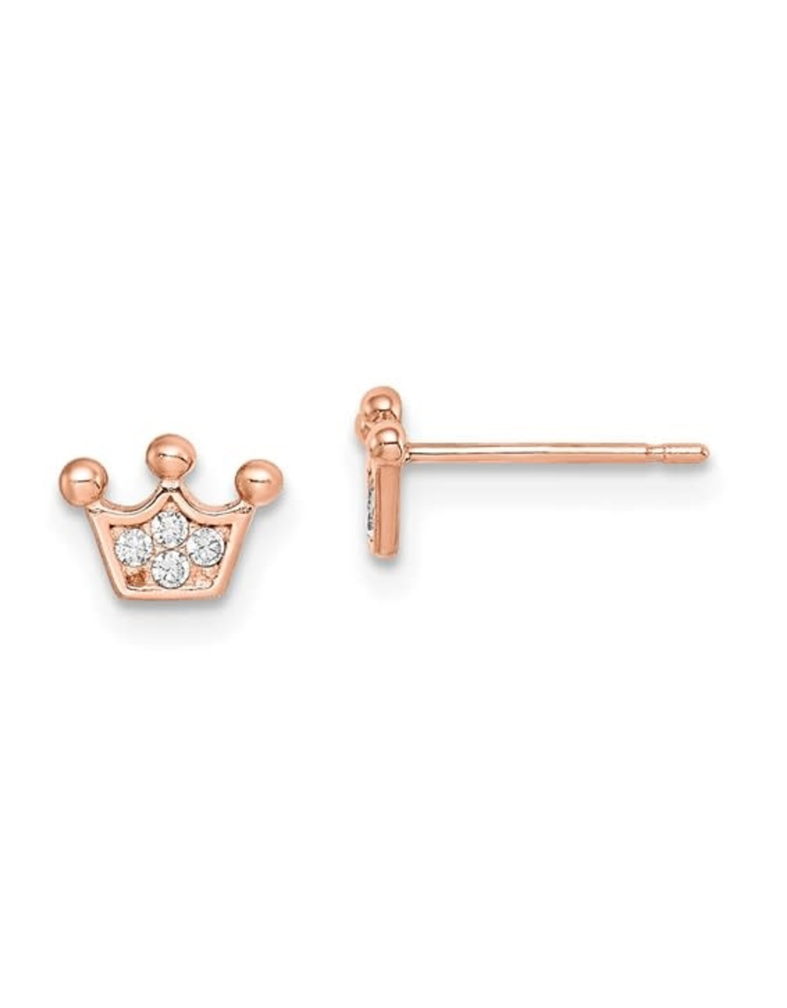 14K Rose Gold Crown Stud Earrings with White Zirconias