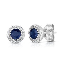 14K W/G Sapphire and Halo Diamond  Stud Earrings