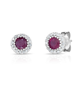 14K W/G Ruby and Diamond Halo Stud Earrings