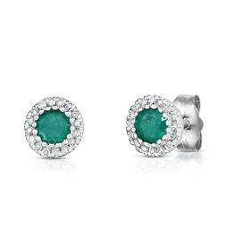 14K W/G Emerald and Diamond Halo Stud Earrings