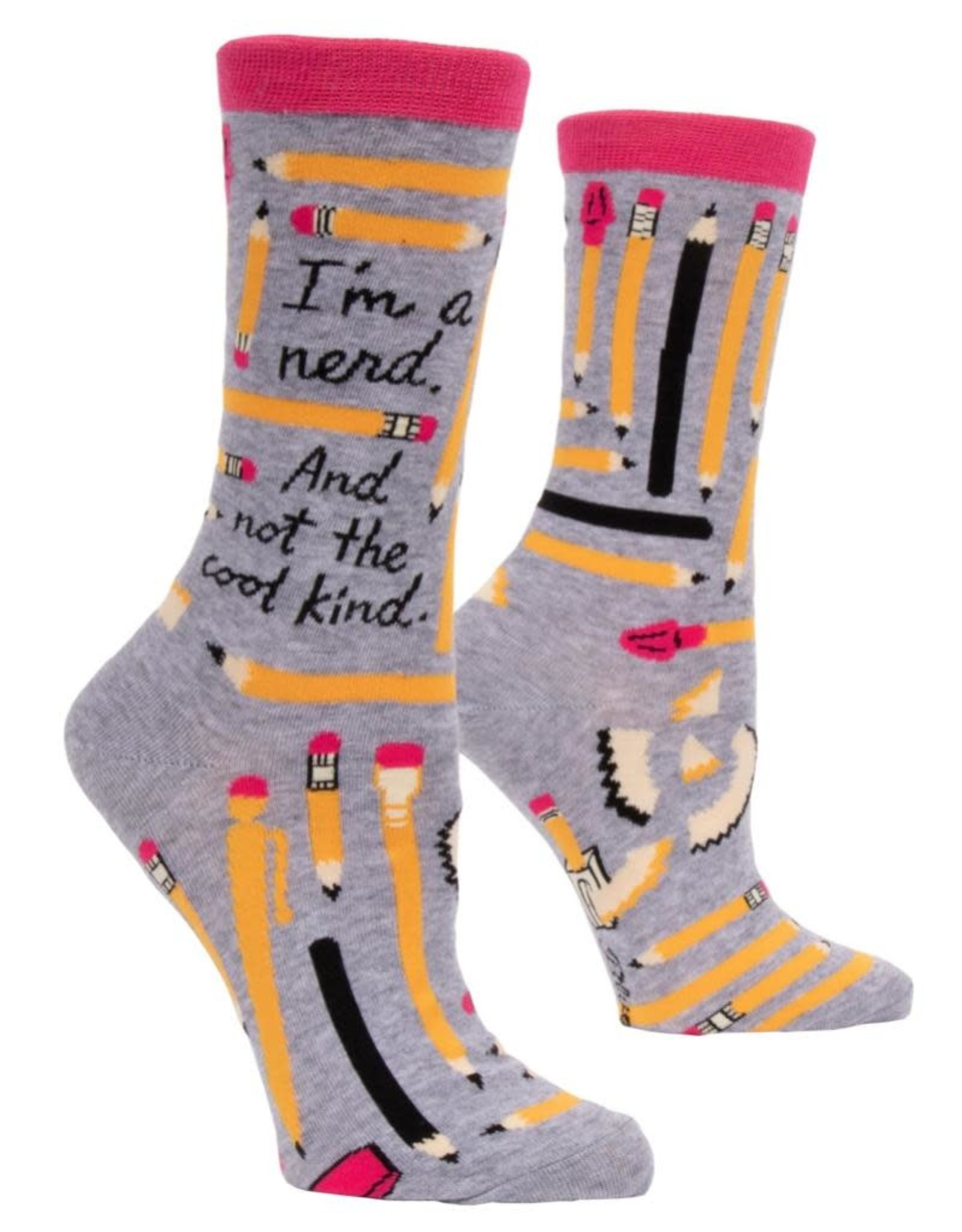 Blue Q I'm A Nerd and Not the Cool Kind Women's Crew Socks
