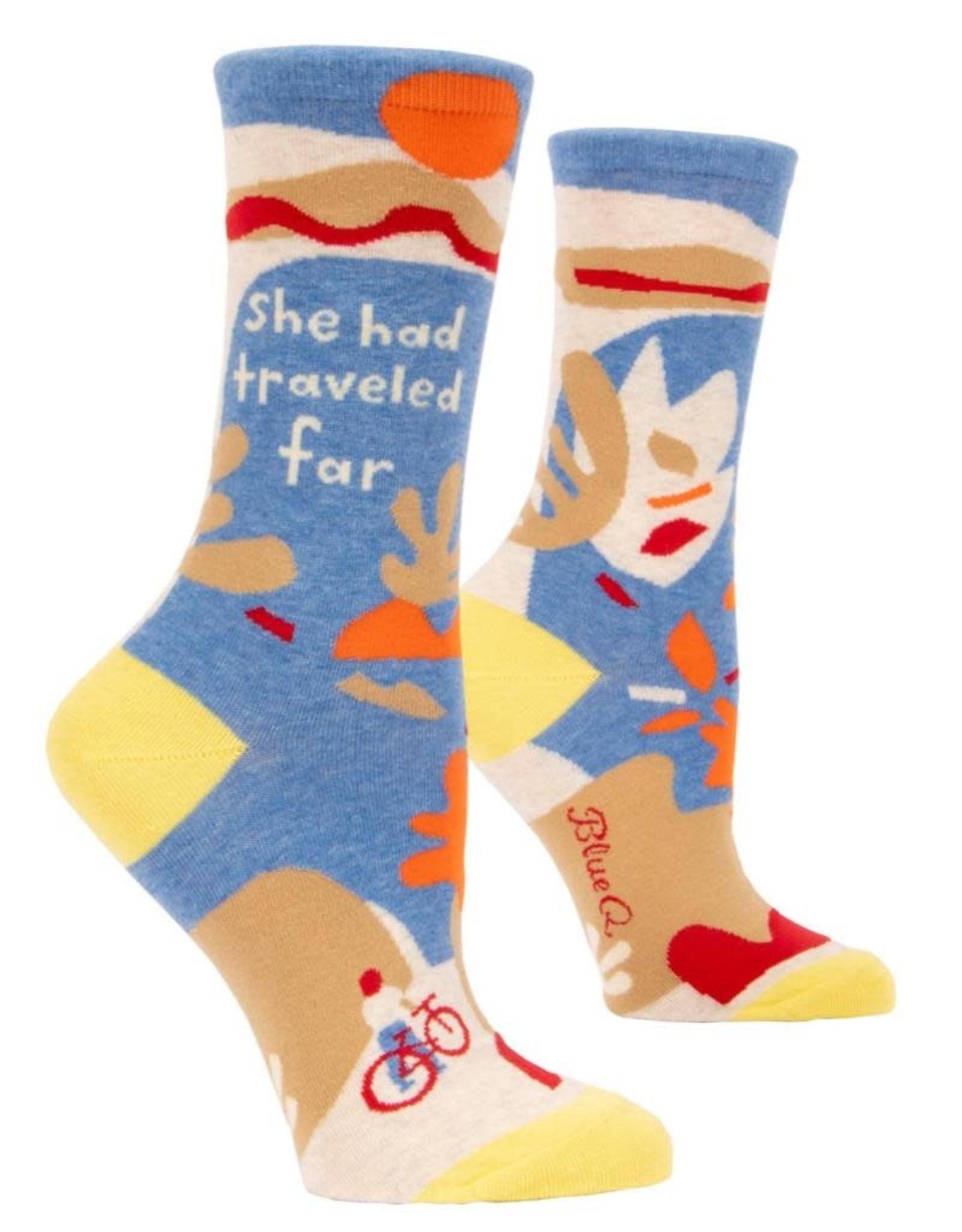 Blue Q She Had Traveled Far Women's Crew Socks