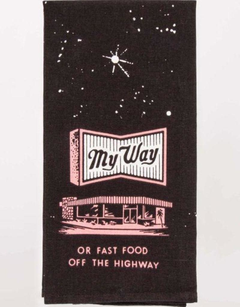 Blue Q My Way or Fast Food Off the Highway Dishtowel