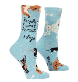 Blue Q People I Want to Meet Dogs Women's Crew Socks