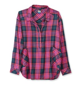 KAVU Women's Melita  Long Sleeve Plaid Shirt