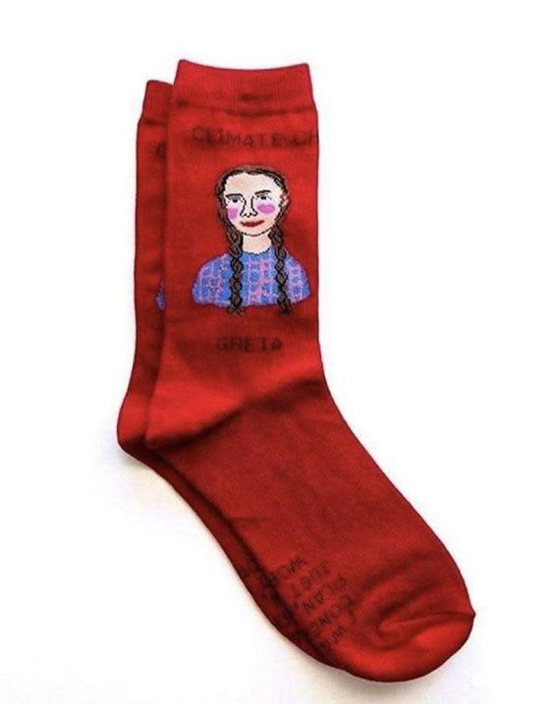 Maggie Stern Stitches Greta Thunberg Red Women's Ankle Socks