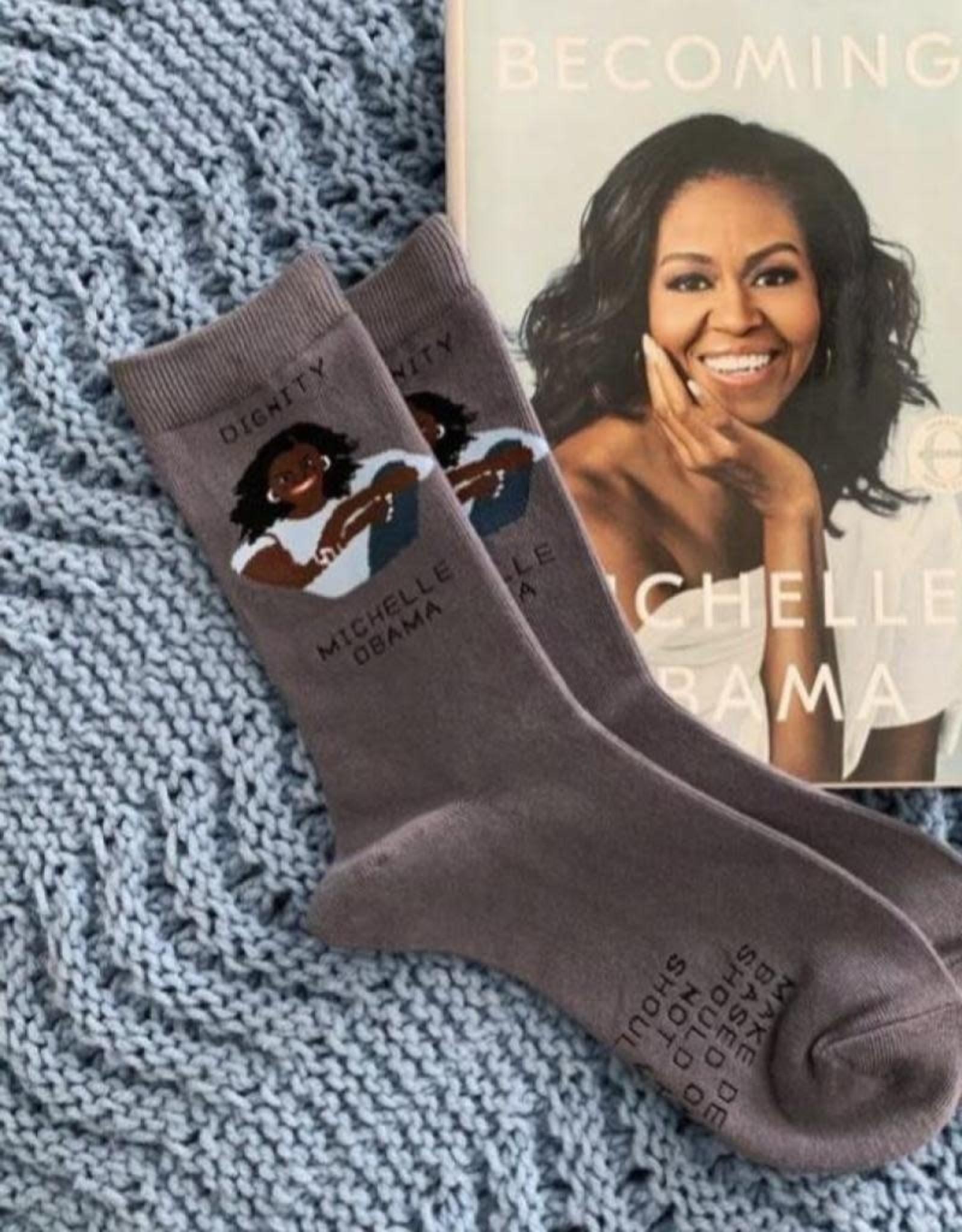 Maggie Stern Stitches Michelle Obama Dignity Women's Crew Socks