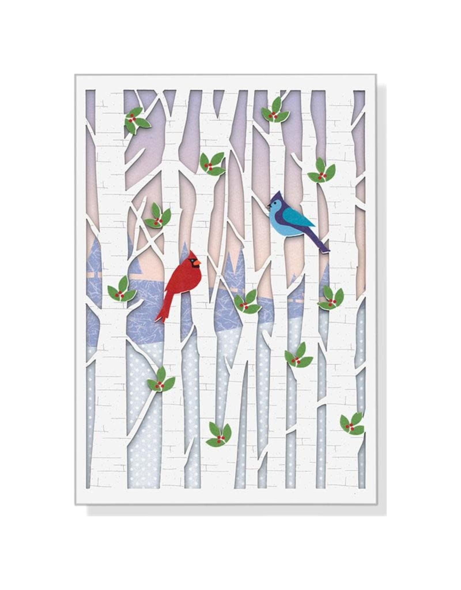 Peter Pauper Birds in Birches Laser Cut Boxed Holiday Cards