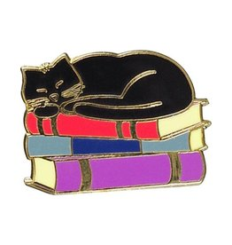 Peter Pauper Cat with Books Enamel Pin