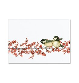 Peter Pauper Winterberry and Chickadees Deluxe Boxed Holiday Cards
