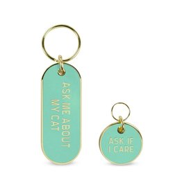 Fred Howligans Keychain & Pet Tag Set Ask Me About My Cat