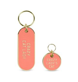 Fred Howligans Keychain & Pet Tag Set Crazy Cat Lady