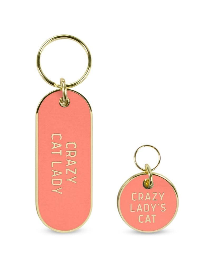 Fred Howligans Keychain & Pet Tag Set Crazy Cat Lady