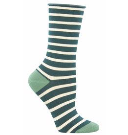Socksmith Women's Green Sailor Stripe Bamboo Socks
