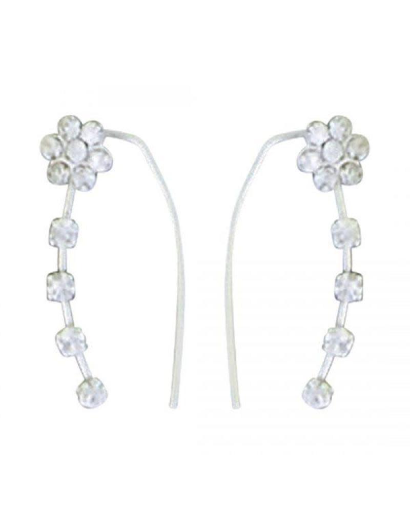 Acomo Jewelry CZ Flower Ear Climber