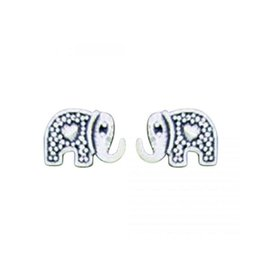 Elephant with Heart Stud Earring