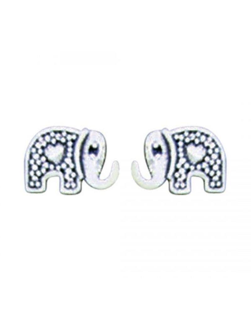 Acomo Jewelry Elephant with Heart Stud Earring
