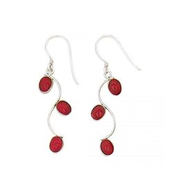 Red Coral Three Ovals Earrings