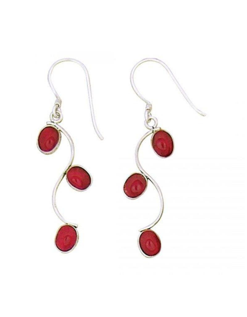 Acomo Jewelry Red Coral Three Ovals Earrings