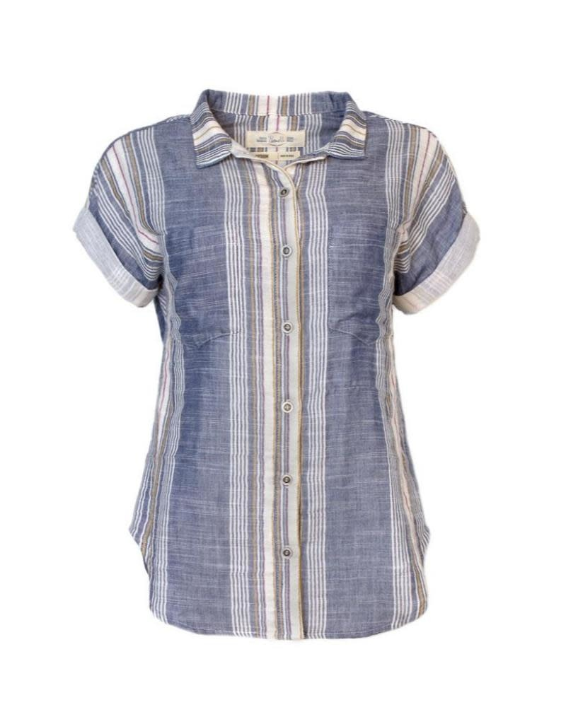 Purnell Women's Short Sleeve Double Sided Striped Shirt