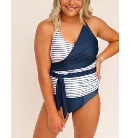 nani Swimwear Pinstripe Wrap Tie Tankini Top