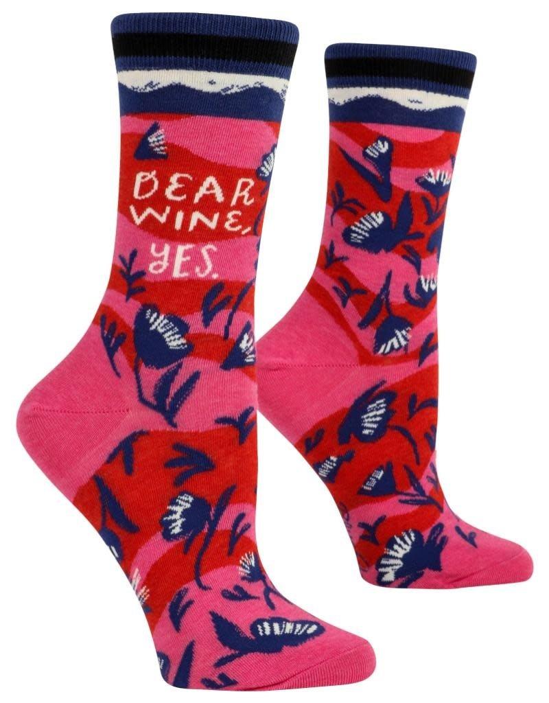 Blue Q Dear Wine, Yes Women's Crew Socks