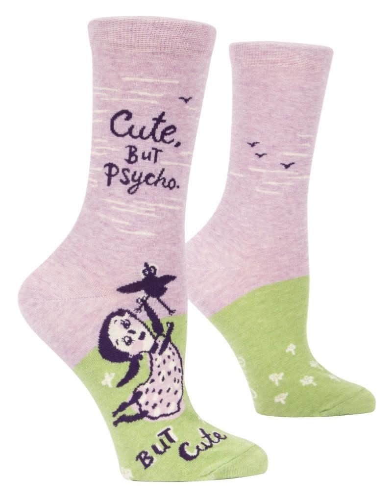 Blue Q Cute, But Psycho Women's Crew Socks