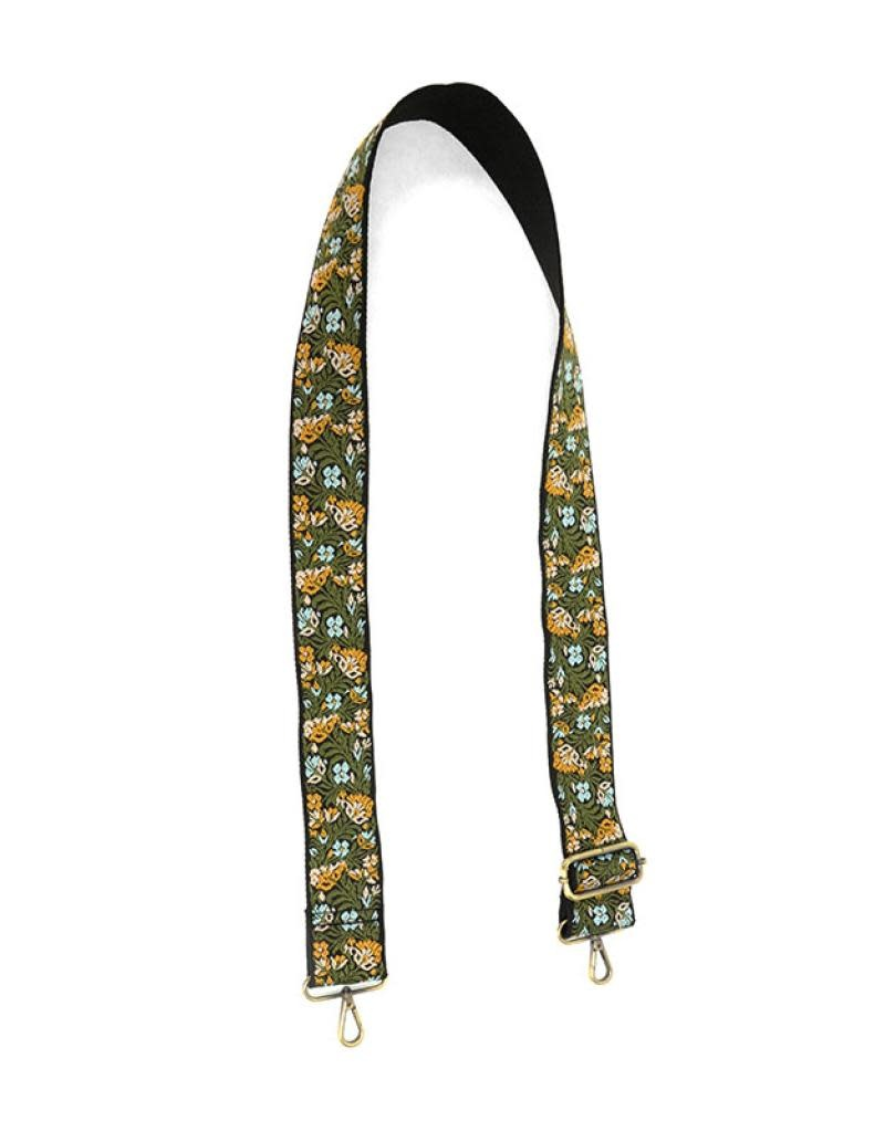 """Joy Susan 2"""" Green/Yellow Floral Embroidered Guitar Strap"""