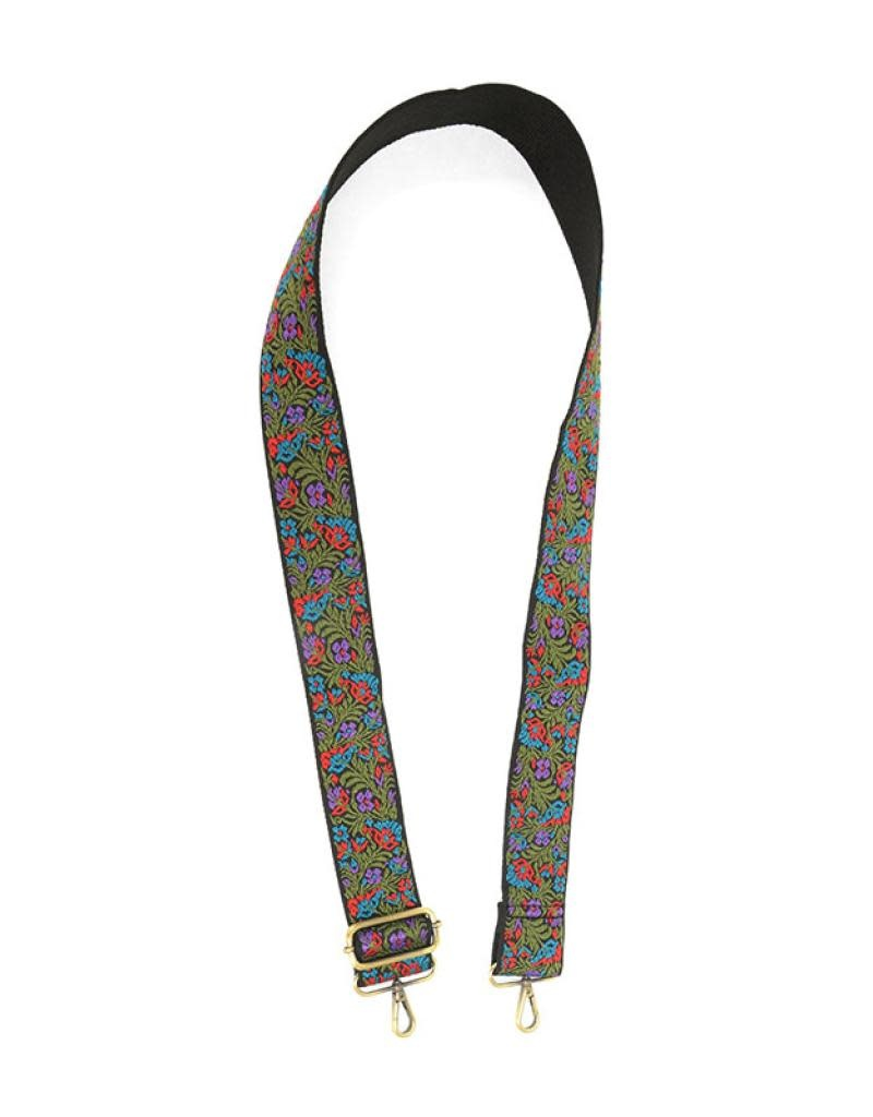 """Joy Susan 2"""" Purple/Turquoise Floral Embroidered Guitar Strap"""