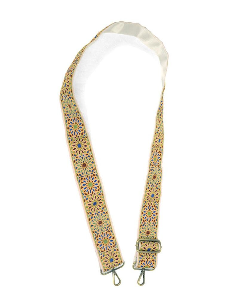 """Joy Susan 2"""" Yellow Floral Embroidered Guitar Strap"""