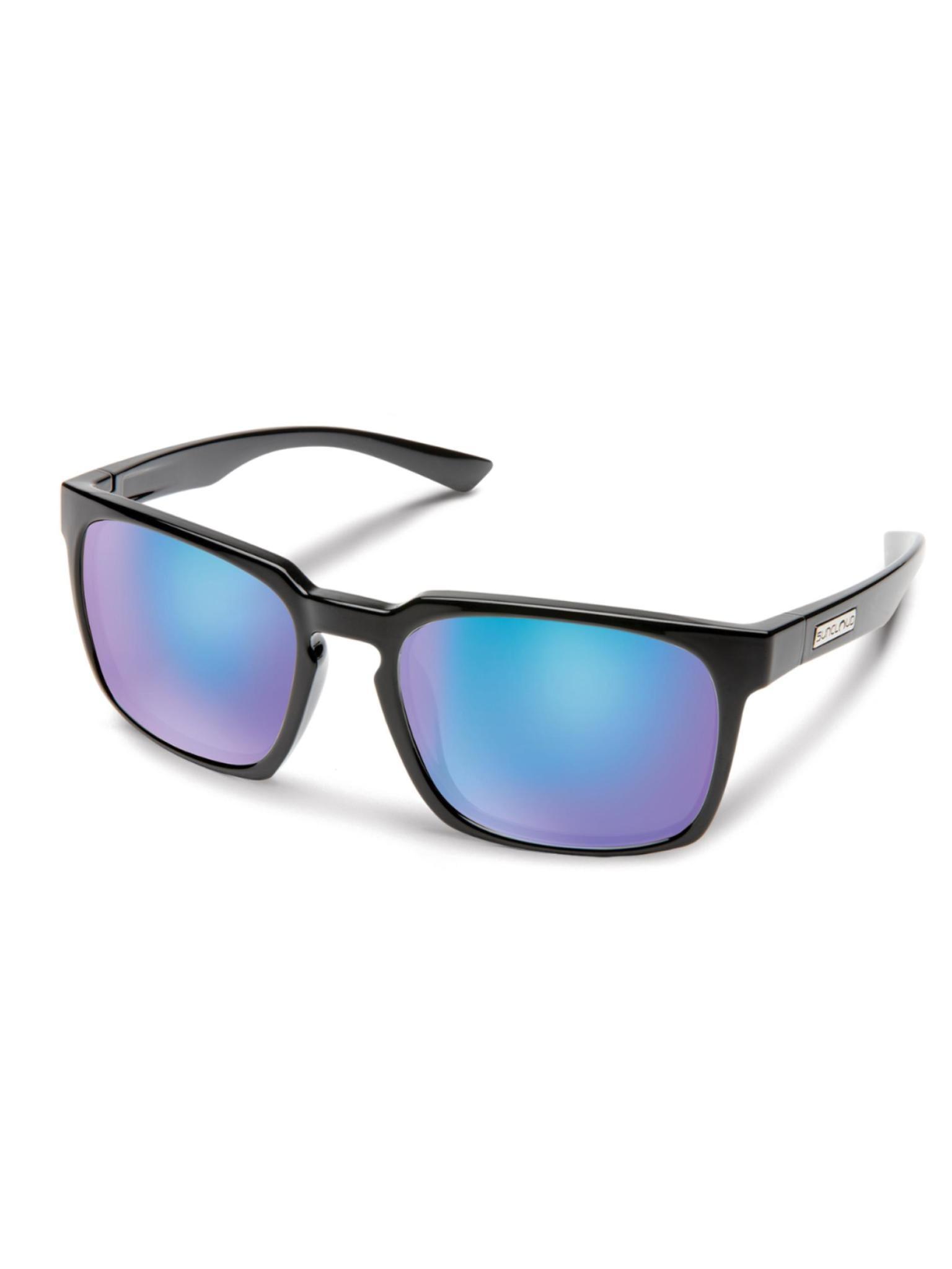 Hundo Sunglasses Black Polarized Blue Mirror