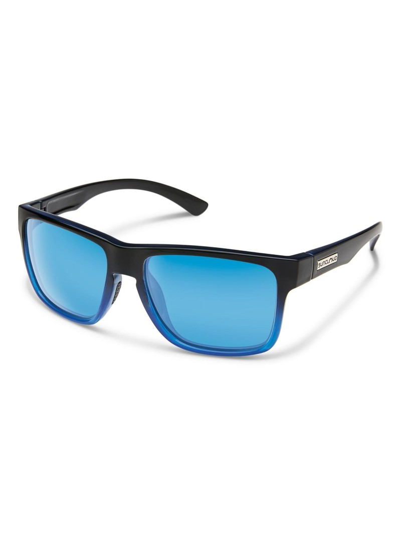 Rambler Sunglasses Black Polarized Blue Mirror