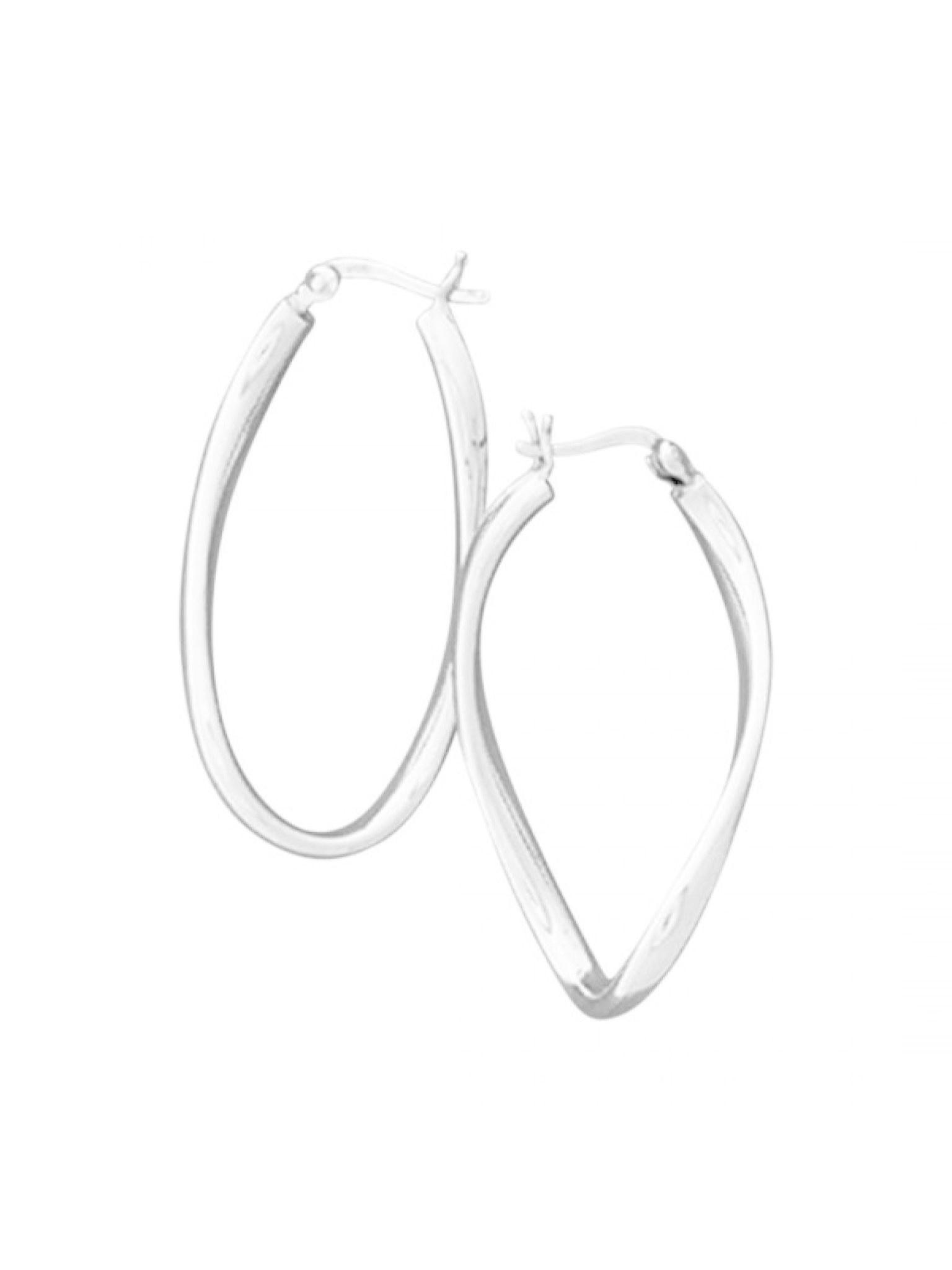 Acomo Jewelry Shiny Oval Shaped 21x40mm Hoop Earring