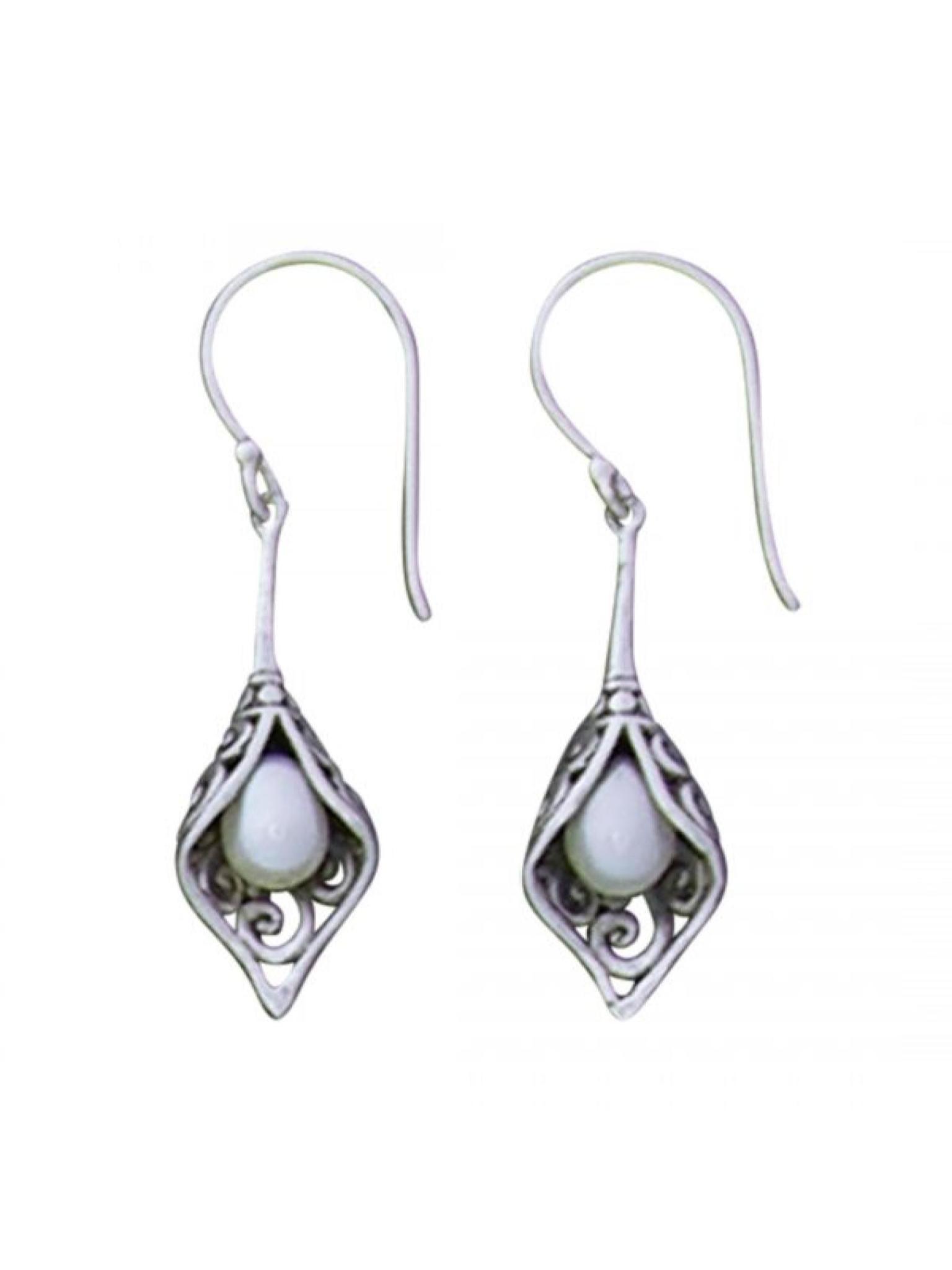 Acomo Jewelry Freshwater Pearl Drop in Open Fold Earring