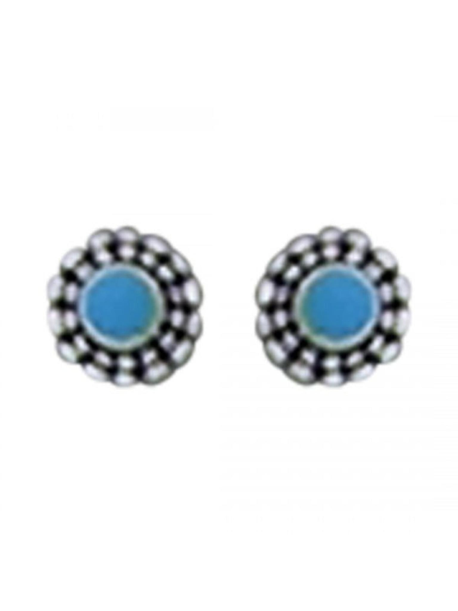 Acomo Jewelry Flower with Blue Center Stud Earring