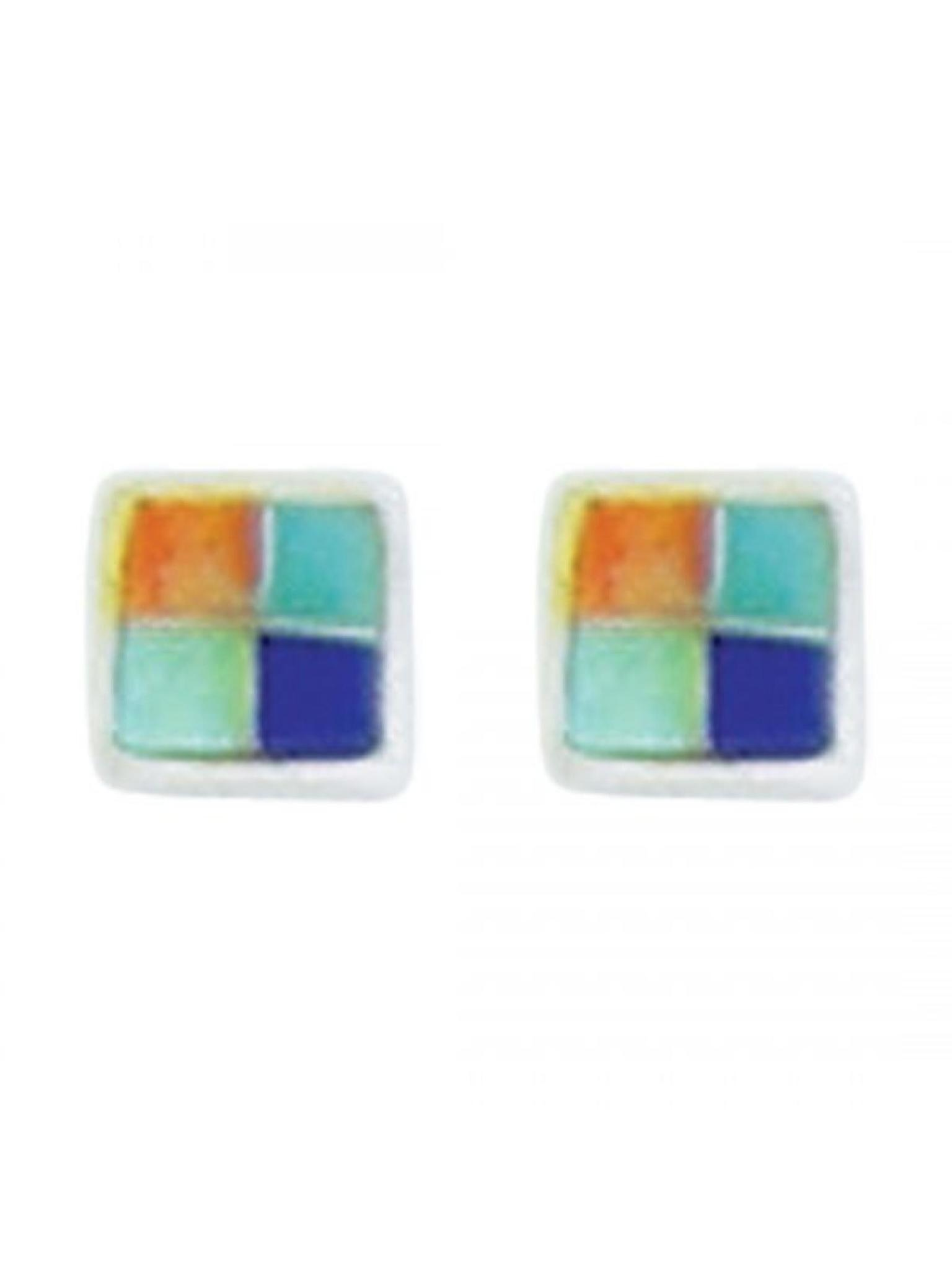 Acomo Jewelry Diamond Shaped Inlay Earring Four Color