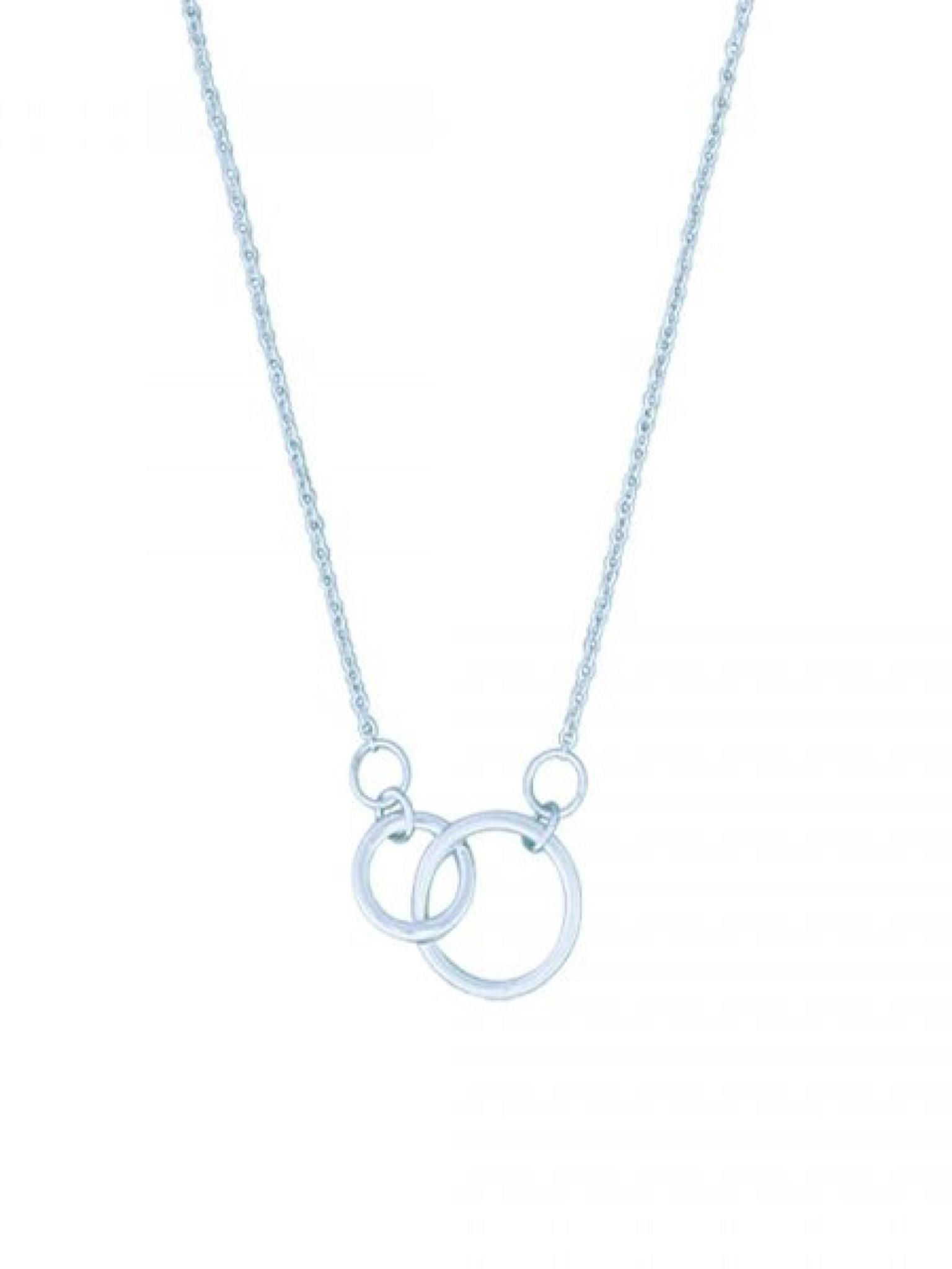 """Acomo Jewelry Double Circles Sterling Silver 16"""" Necklace"""
