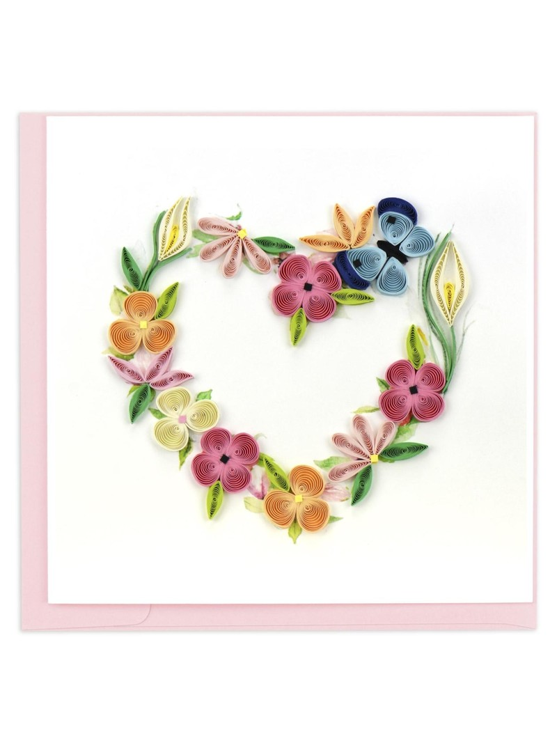 Quilling Card Floral Heart Wreath