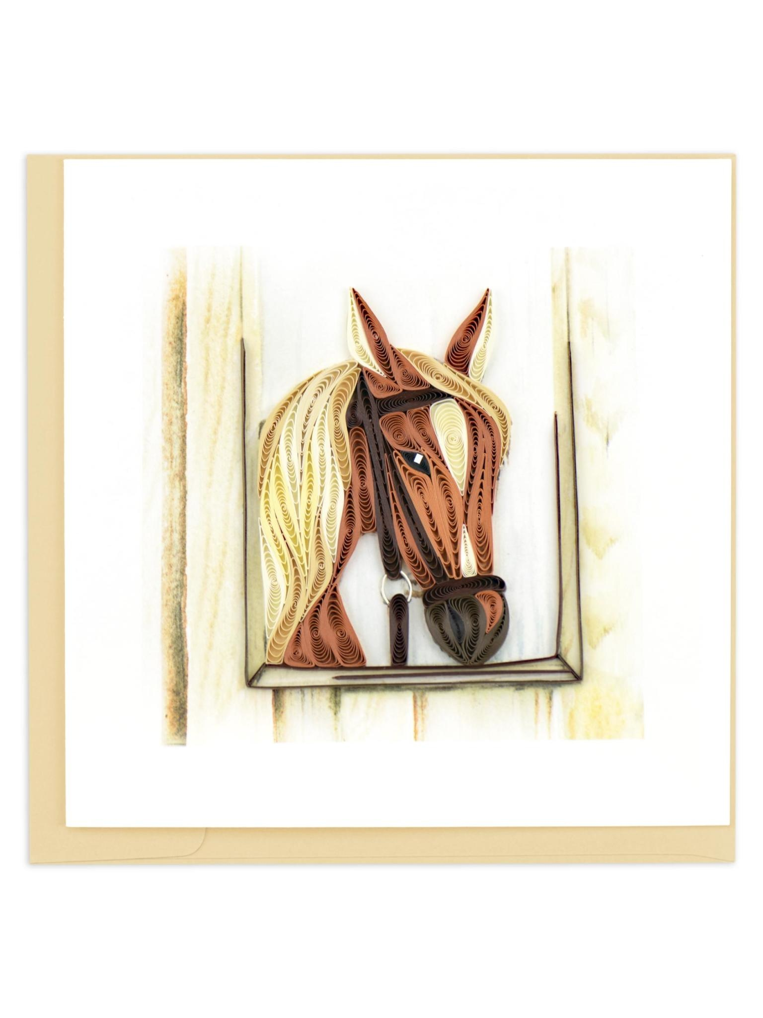 Quilling Card Horse in Stable