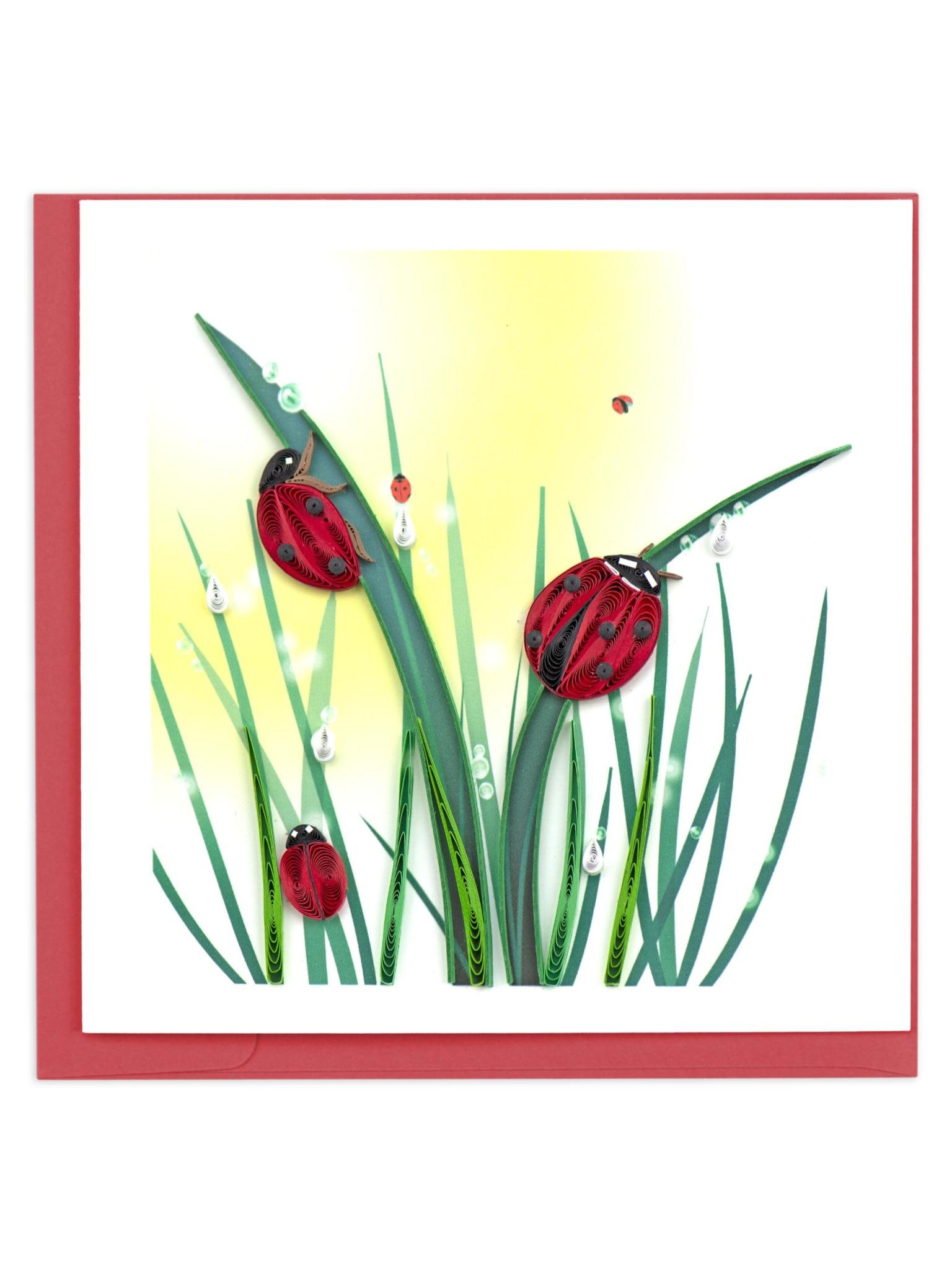 Quilling Card Ladybugs