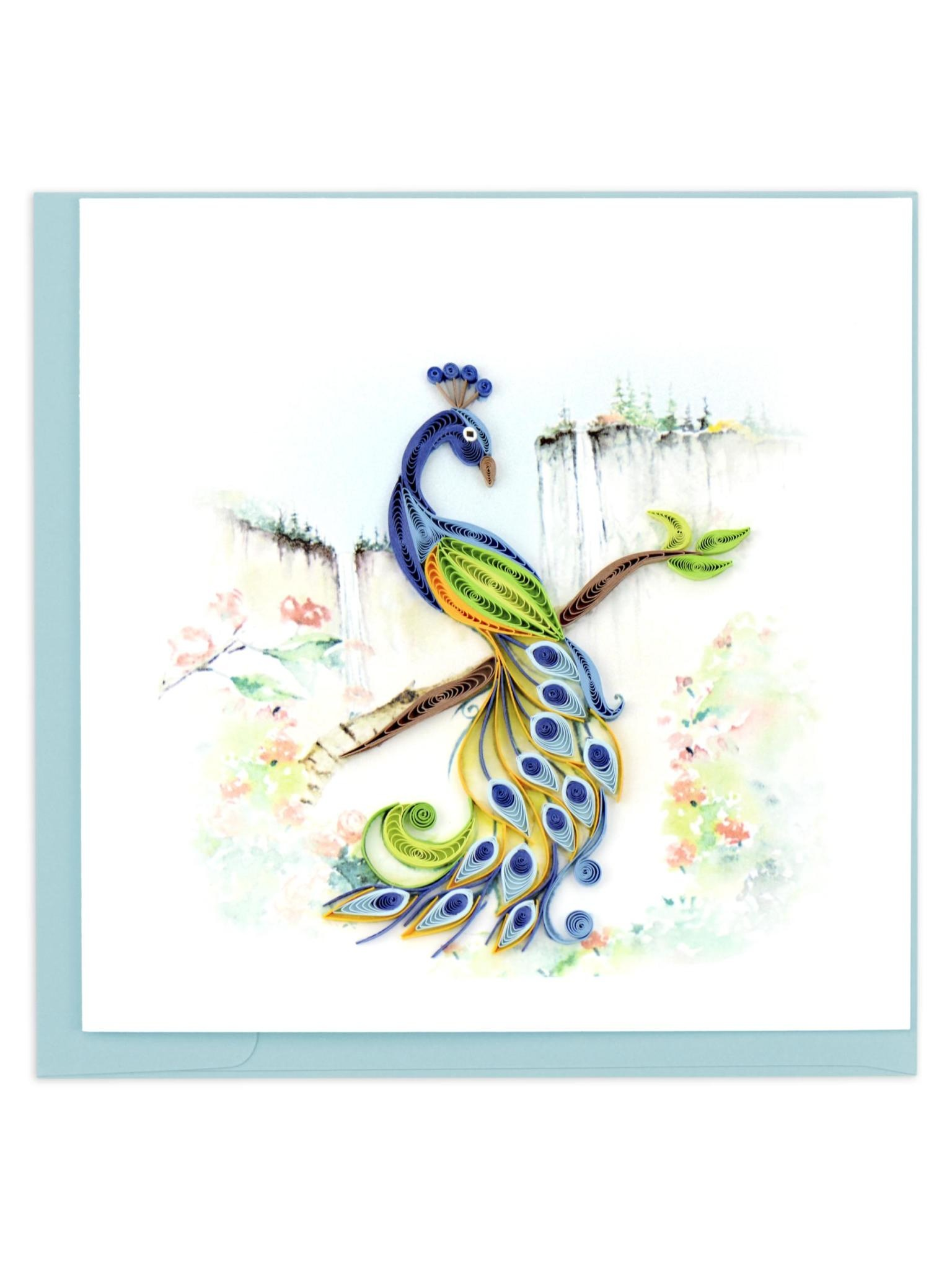 Quilling Card Posing Peacock