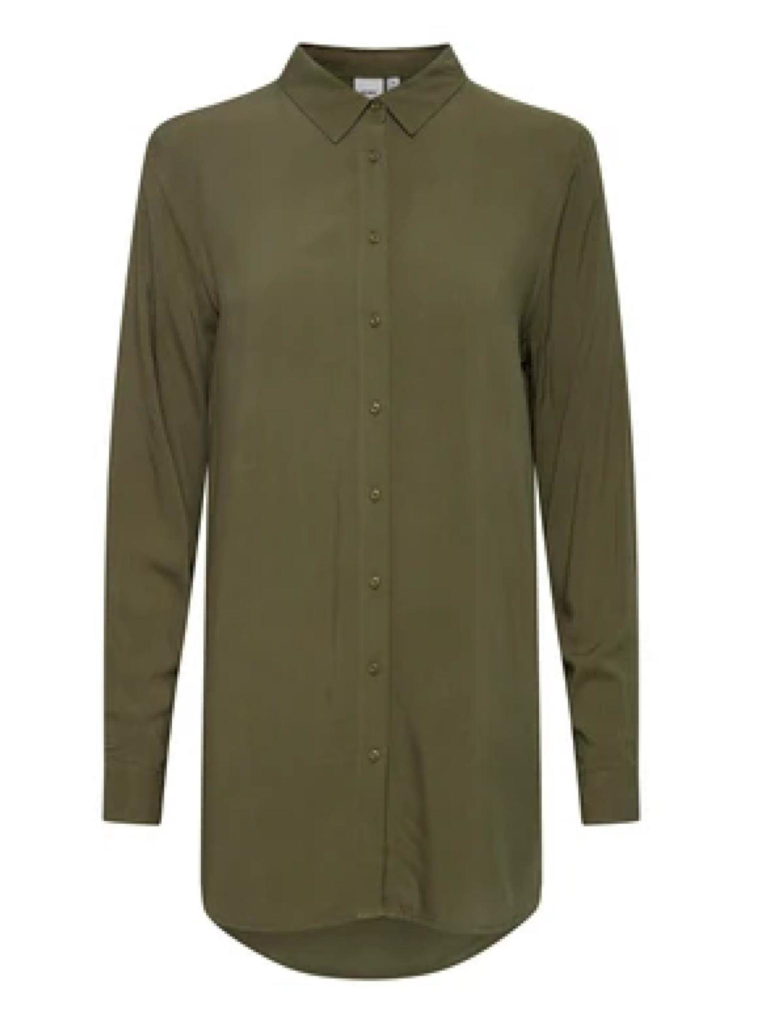ICHI Main Button Down Long Sleeve Top