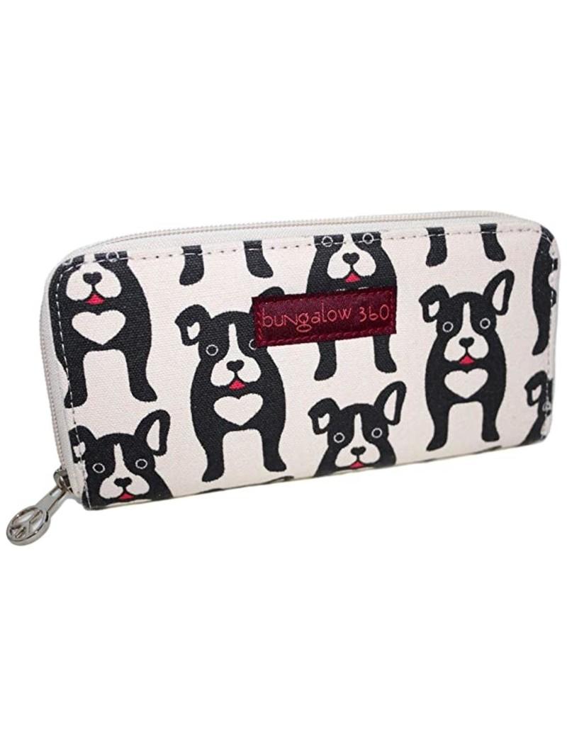 Bungalow 360 Zip Around Wallet Black Dog